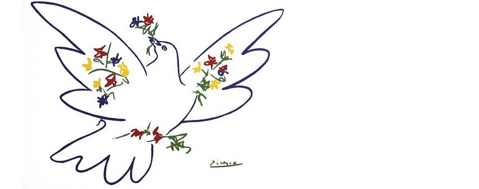 Picasso - Taube mit Blumen